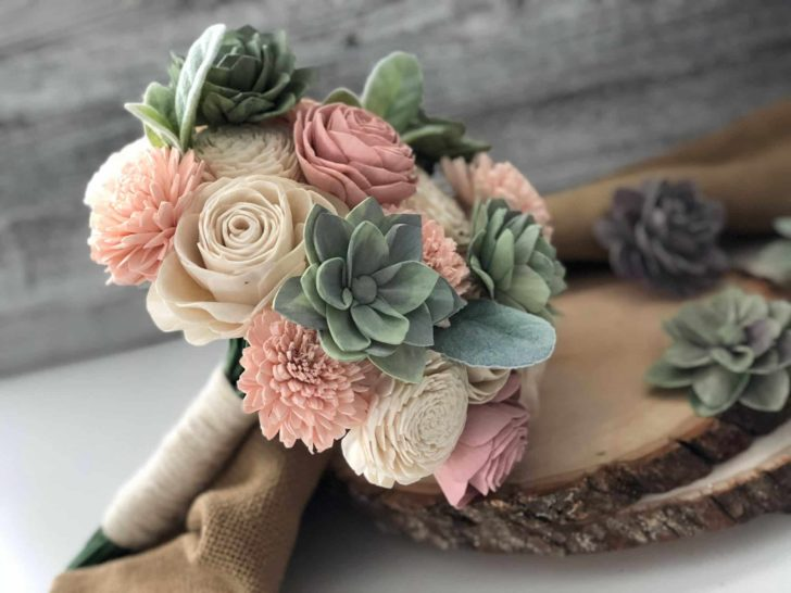 Pine and Petal Weddings - wooden flower bouquet