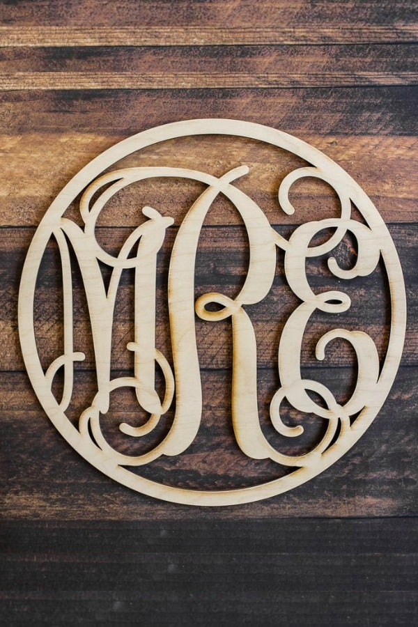 5th Wedding Anniversary Gift Idea - WOOD CIRCLE VINE MONOGRAM By Woodums on Etsy