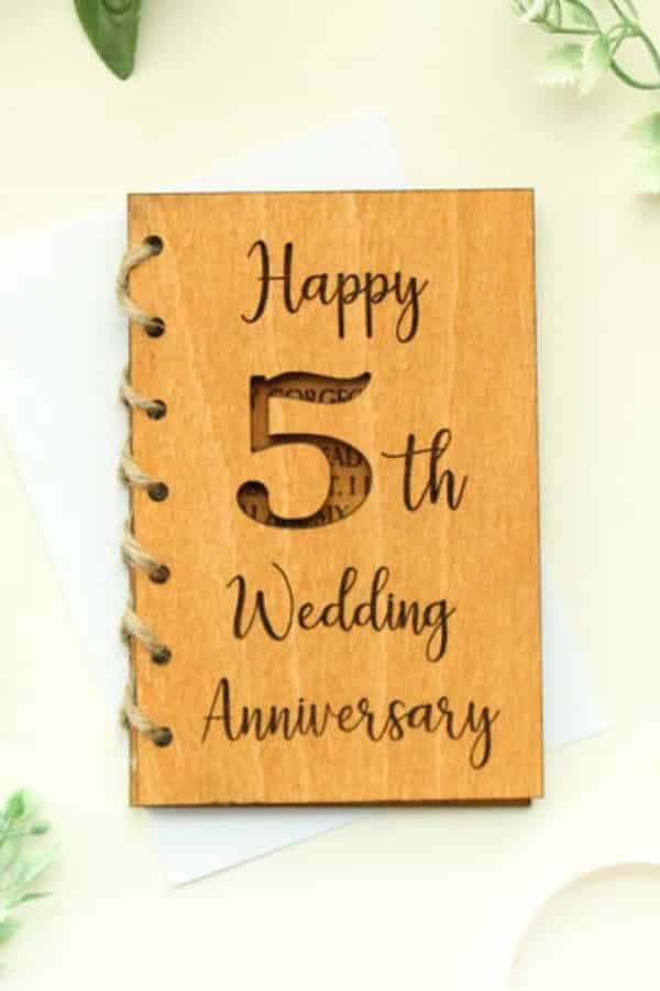 5th Wedding Anniversary Gift Idea - WOODEN ENGRAVED CARD