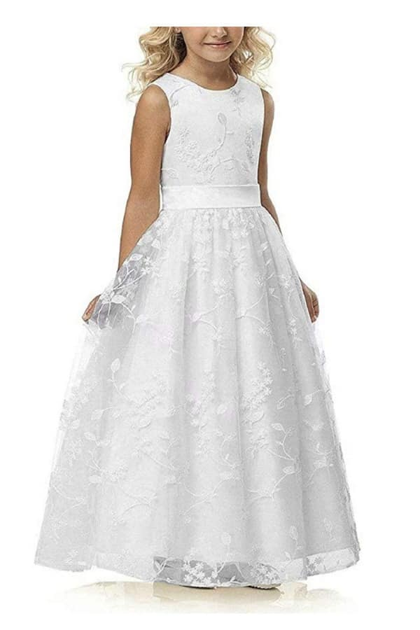 A-LINE LACE FLOWER GIRL DRESS WITH BELT by Abaowedding