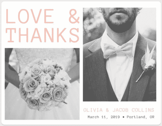 """""""They"""" say nothing is free. We beg the differ. Our list of wedding freebies will get you free wedding stuff with just the click of your mouse, including this Love and Thanks Card from Canva."""
