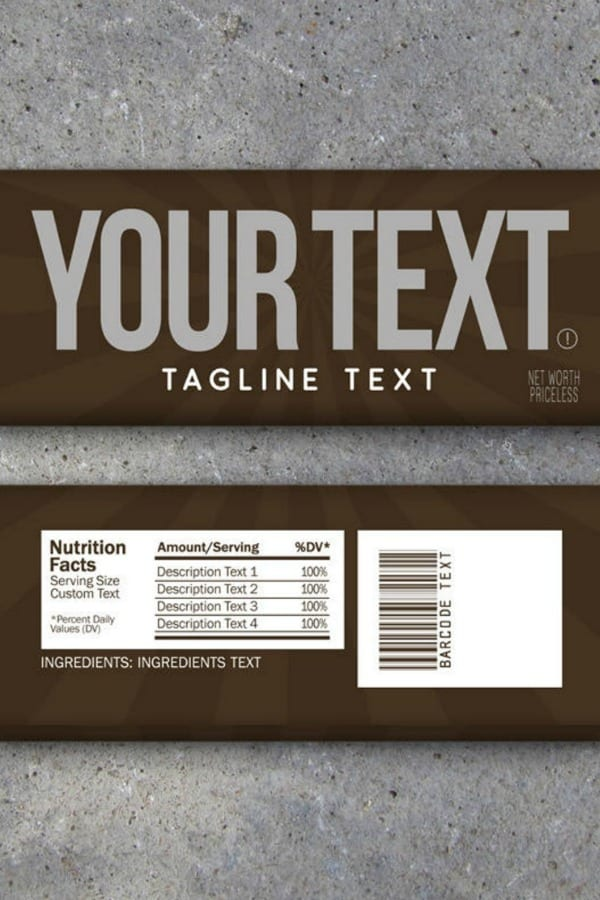 CUSTOM TEXT CANDY BAR WRAPPERS By Studio120Underground