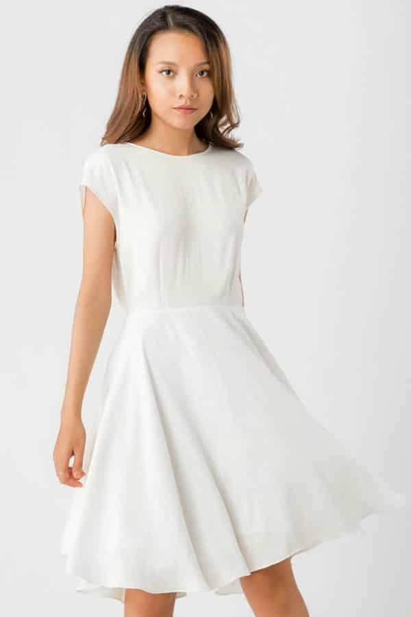 KAYLA WHITE SILK MINIMALIST DRESS By NoireBrand