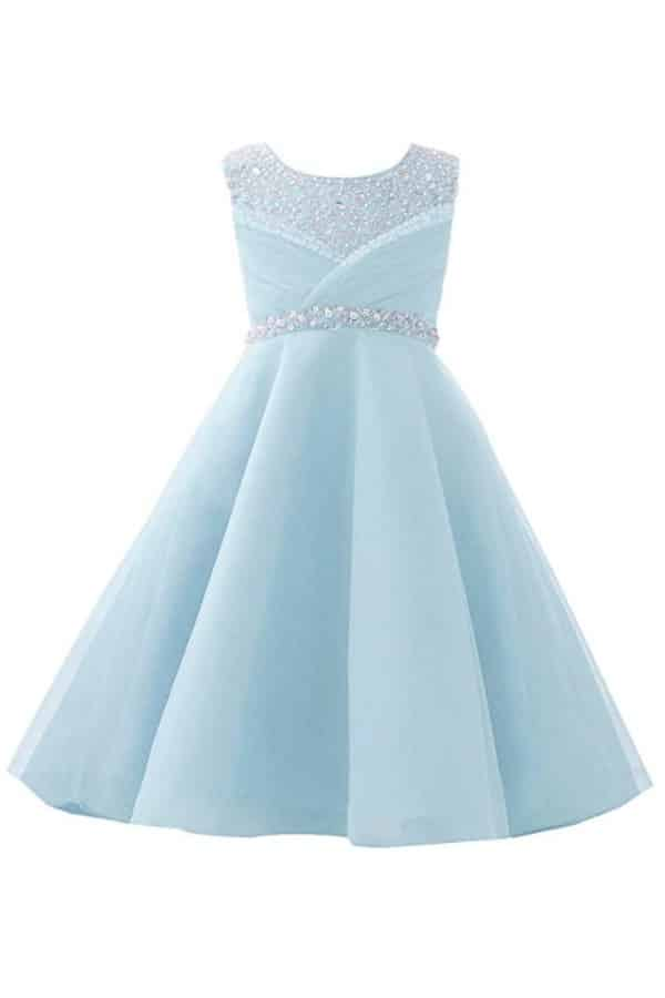 ORGANZA SEQUIN PEARLS FLOWER GIRL DRESS WITH TRAIN By Castle Fairy