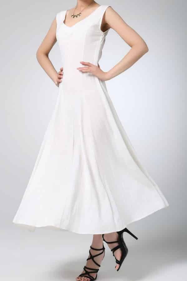 WHITE LINEN MAXI DRESS By xiaolizi