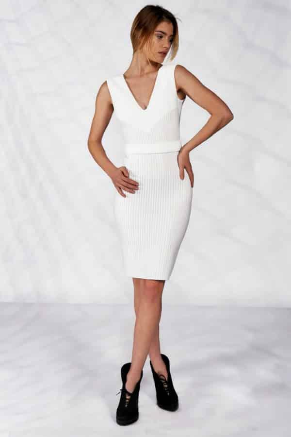 WHITE V-NECK BODYCON DRESS By IllummineeFashions