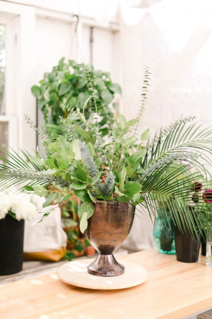 bloom culture flowers - ceremony floral arrangement - step 5 - greenery