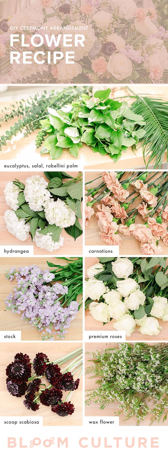 diy ceremony arrangement flower recipe