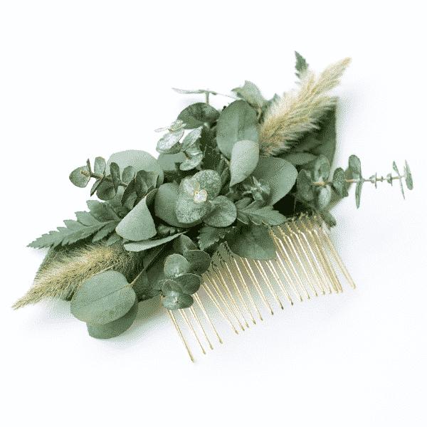 diy wedding greenery comb