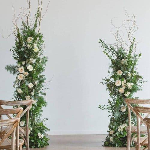 alternative ceremony altar decor ideas - create pillars for your aisle