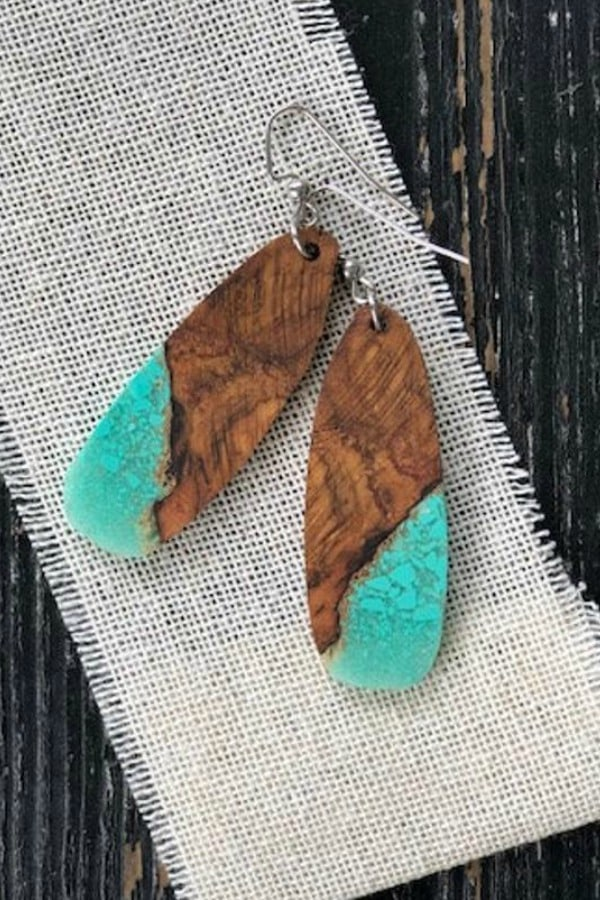 Natural Edge Oak and Turquoise Earrings By mlwoodworksKY | Seventh Anniversary Gifts - gift ideas for your 7th wedding anniversary