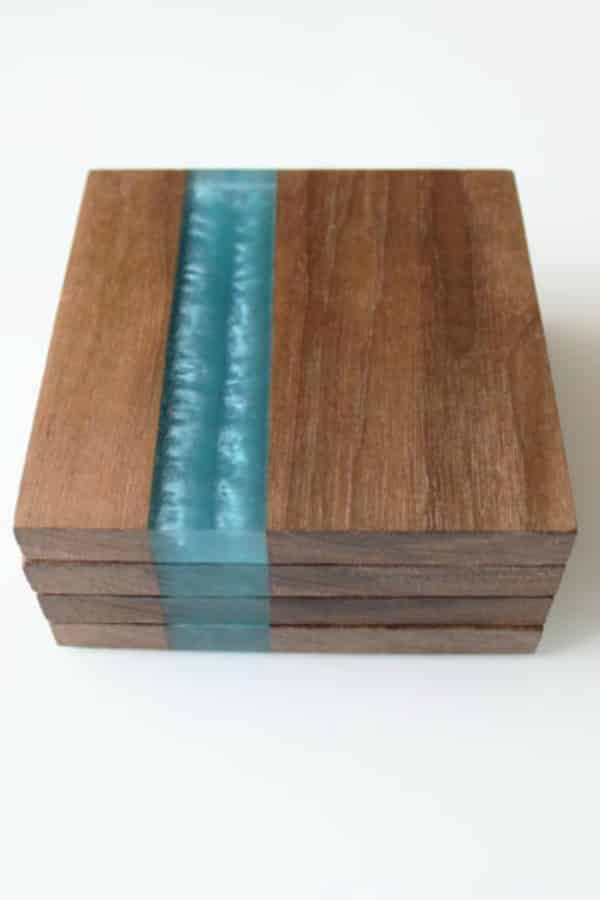 Walnut Coasters With Blue Stripe By TipsyOak | Seventh Anniversary Gifts - gift ideas for your 7th wedding anniversary