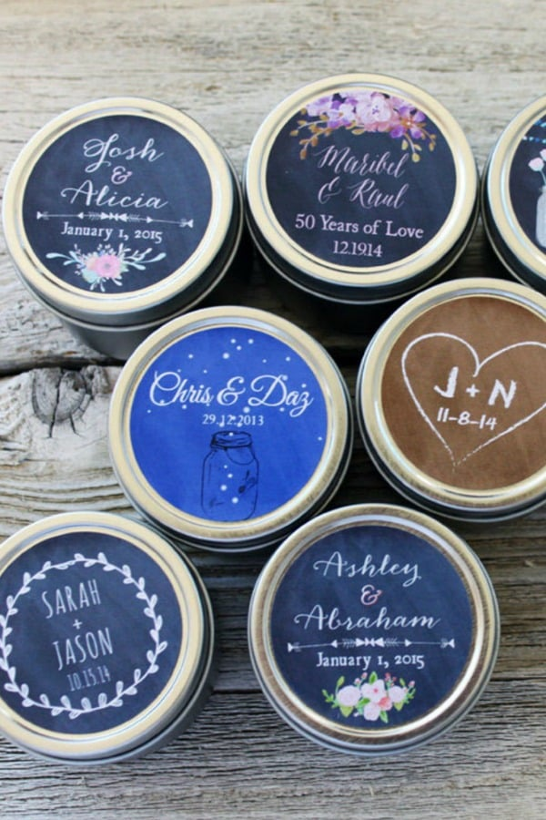 Wedding Candle Favor Tins with Custom Labels By BitterWilloughby
