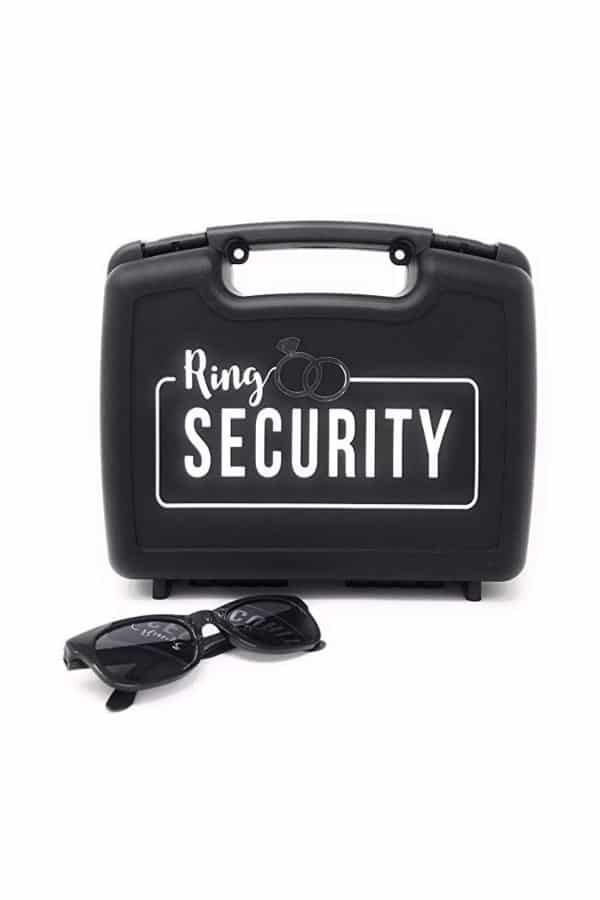 Wedding Ring Security Suitcase with Black Sunglasses By Swiss
