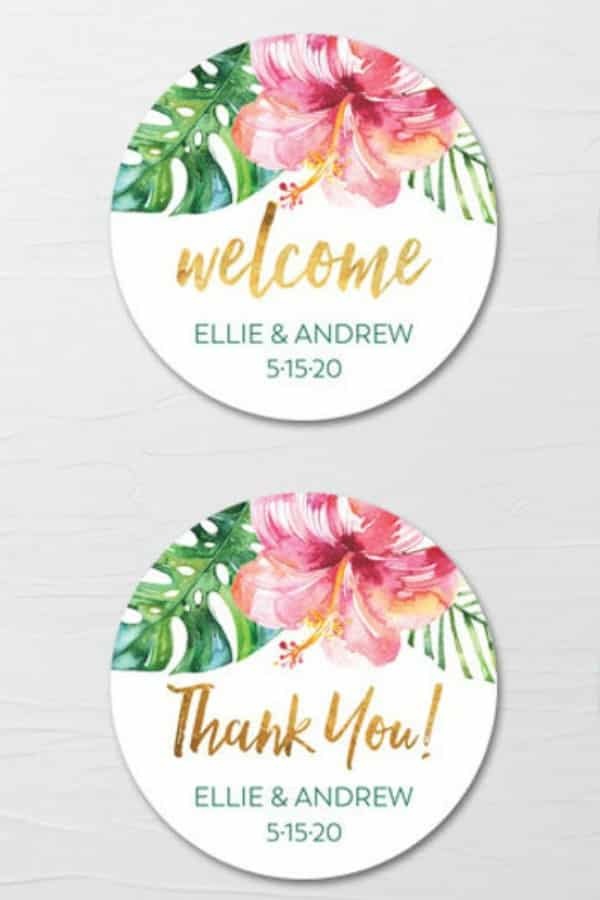 Tropical Flowers Labels By DiVart