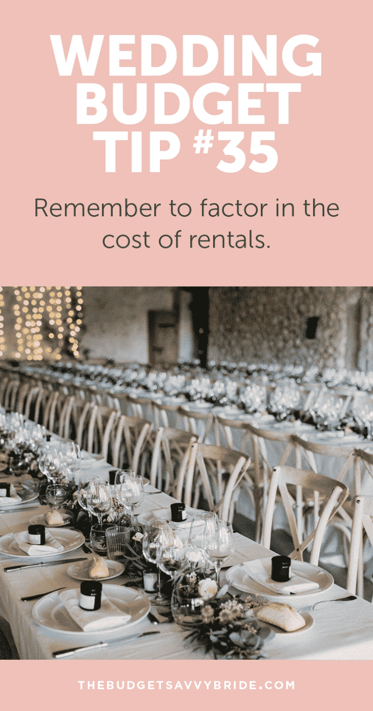 Wedding Budget Tip #35: Remember to factor in the cost of rentals if you're considering a blank space or à la carte wedding venue.