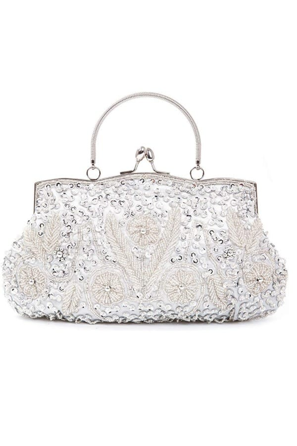 Beaded Vintage Flower Design Wedding Purse - Bridal handbags for your wedding day