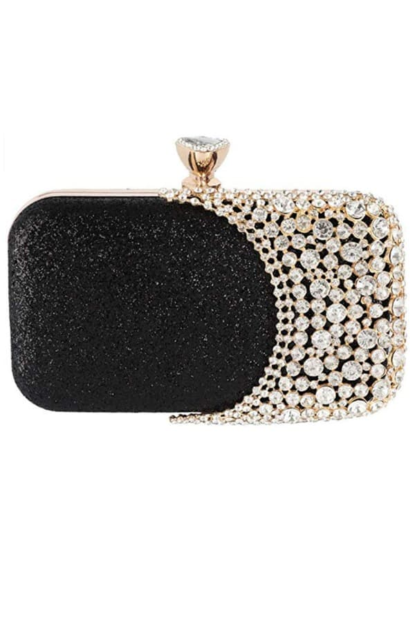 Black and Beaded Rhinestones Clutch - Bridal handbags for your wedding day