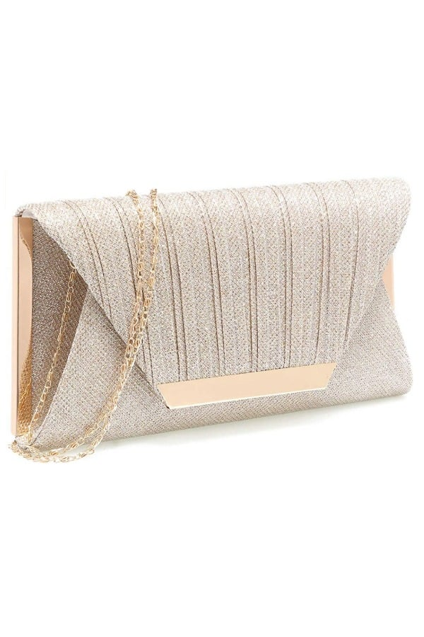 Champagne Clutch With Chain - Bridal handbags for your wedding day