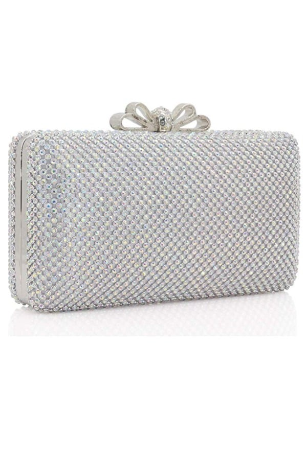 Crystal Clutch Purse With Bow Clasp - Bridal handbags for your wedding day