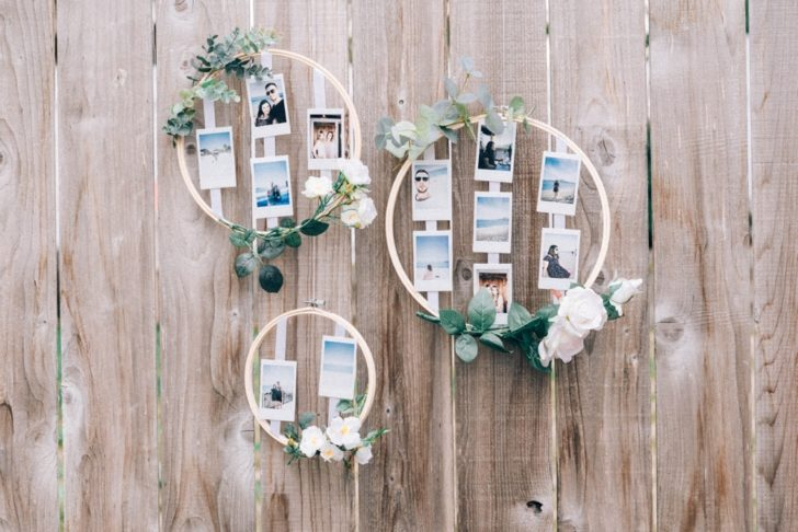 DIY Wedding Photo Display Embroidery Hoop Photo Display Wedding Decorations