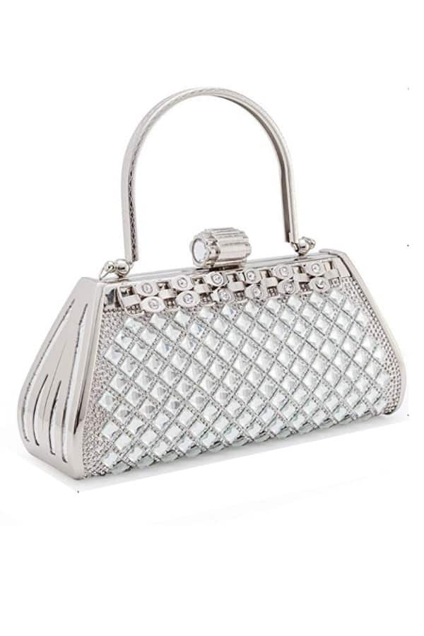 Modern Silver Tone Metal Clutch - Bridal handbags for your wedding day