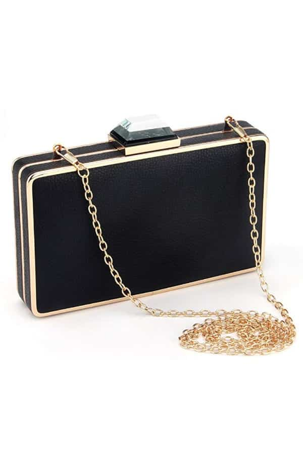 Modern Square Box Clutch In Black - Bridal handbags for your wedding day