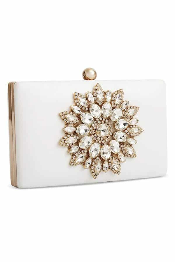 Rhinestone Flower White Clutch - Bridal handbags for your wedding day