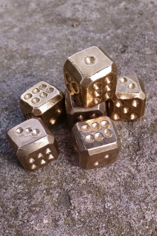 Set of Bronze Dice - 8th Wedding Anniversary Gift Ideas | Gifts for 8th Anniversary