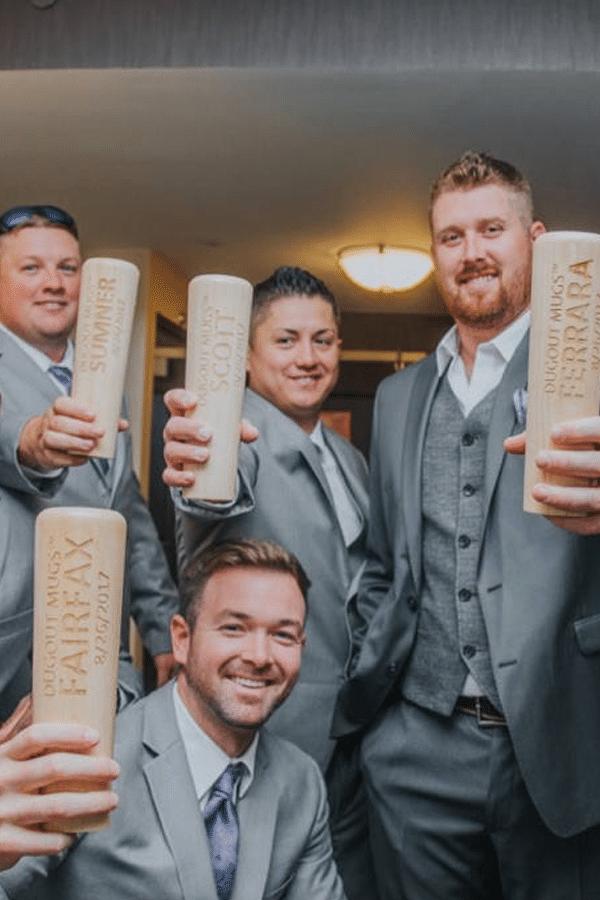 baseball bat mugs for groomsmen gift - sports themed wedding details - baseball wedding