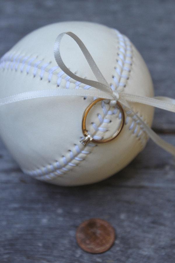 baseball ring pillow - sports themed wedding details - baseball wedding