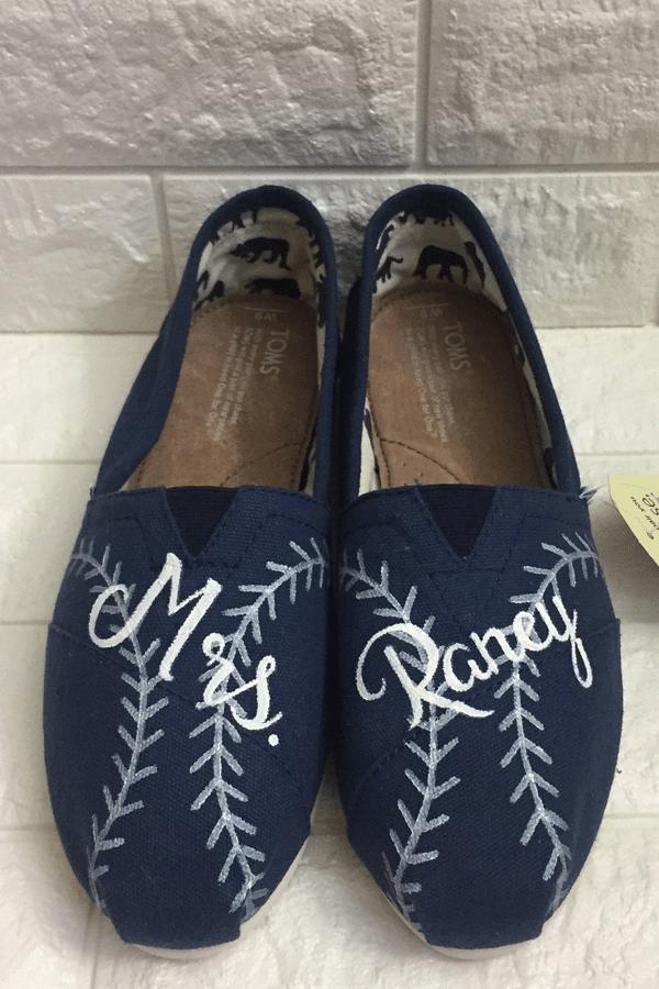 baseball themed toms shoes - sports themed wedding details - baseball wedding