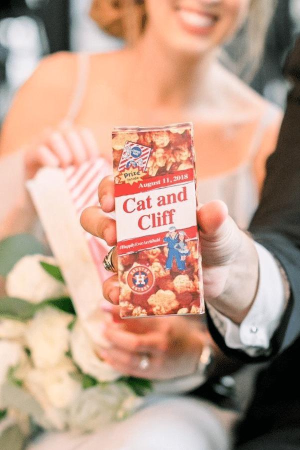 personalized cracker jack boxes - sports themed wedding details - baseball wedding
