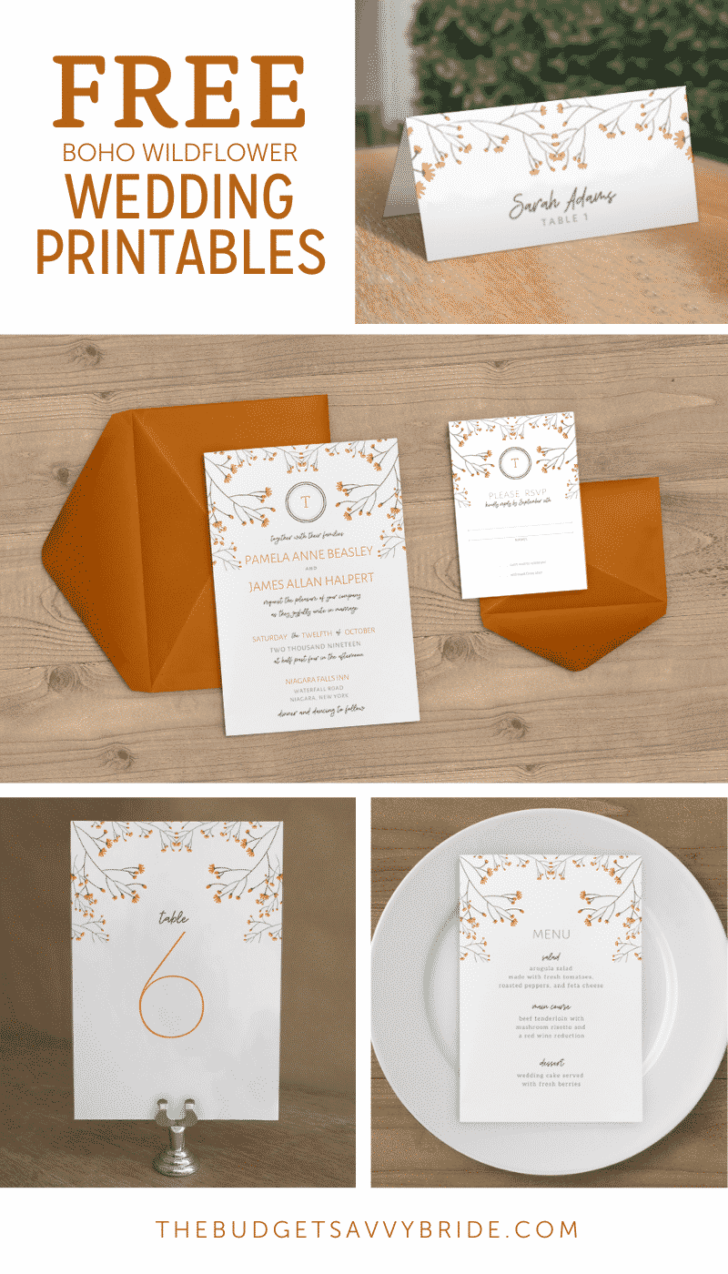Boho Wildflower Free Wedding Invitation Printables