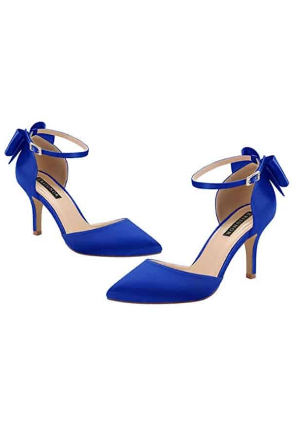 Affordable Ideas for Your Something Blue | Bow Ankle Strap Satin Shoes by ERIJUNOR