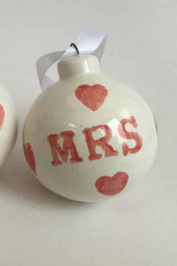 9th Wedding Anniversary Gift Ideas Ceramic Christmas Ornaments By BettyandJoans