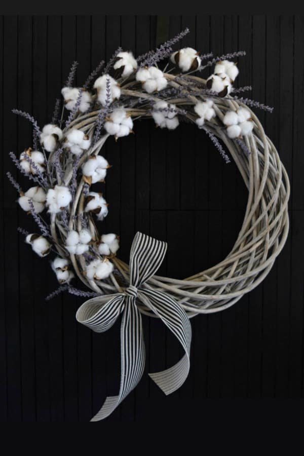 9th Wedding Anniversary Gift Ideas Cotton and Lavender Willow Wreath by WhiteDoorStudios