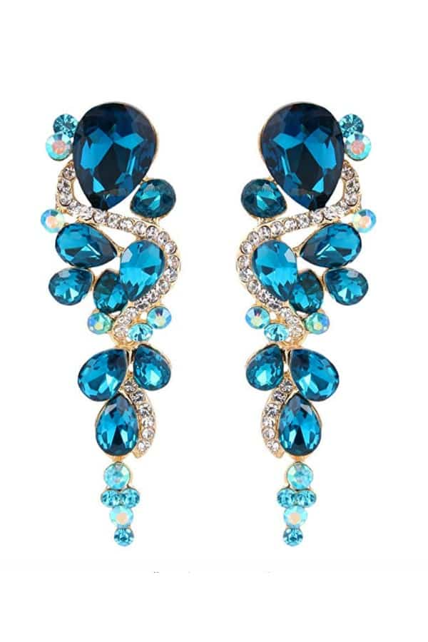 Affordable Ideas for Your Something Blue | Crystal Teardrop Chandelier Earrings by BriLove