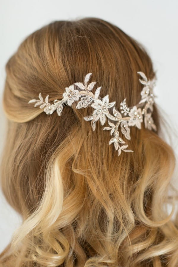 Unique Bridal Headpieces from Etsy | Lace And Rhinestone Hair Vine And Comb by PowderBlueBijoux