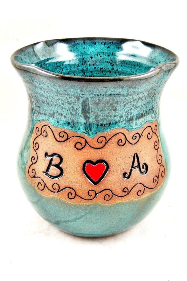 9th Wedding Anniversary Gift Ideas Personalized Pottery Vase By Ningswonderworld