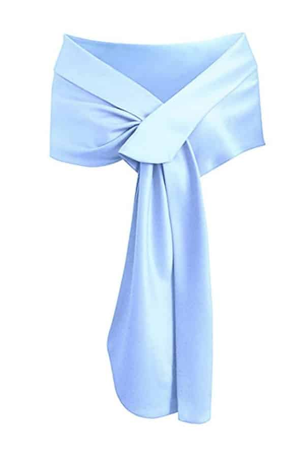 Affordable Ideas for Your Something Blue | Satin Shawl Wrap by Meet Edge