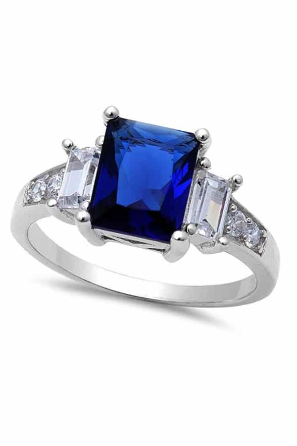 Affordable Ideas for Your Something Blue | Simulated Blue Sapphire Ring by Oxford Diamond Co