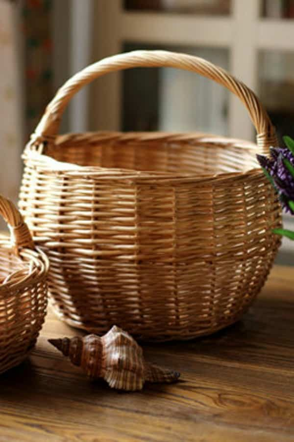 9th Wedding Anniversary Gift Ideas Willow Basket with Handle by HiRusticReach