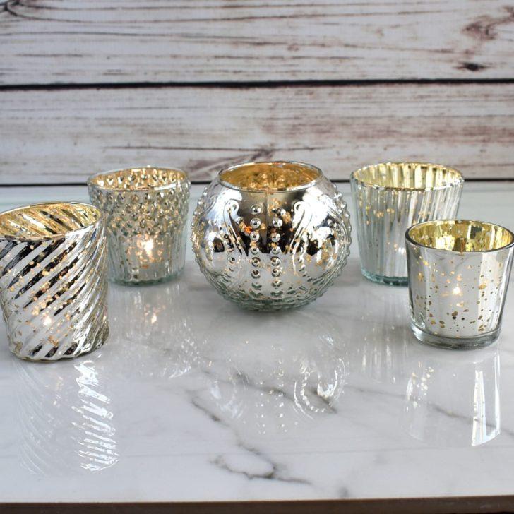 silver mercury glass wedding decor from luna bazaar