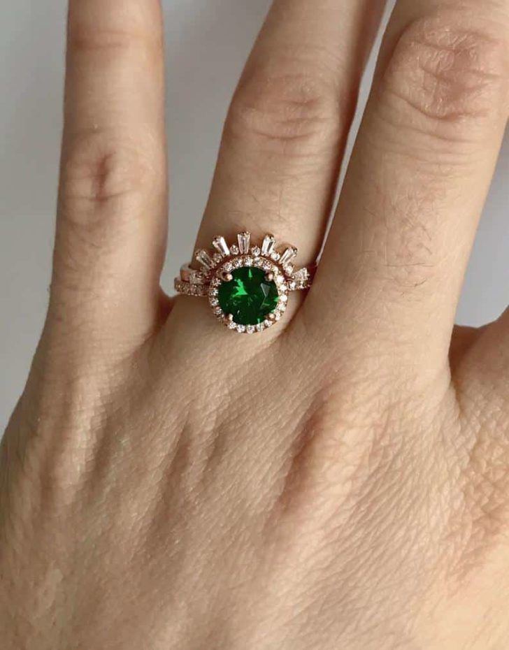 barzahav on etsy emerald green engagement ring