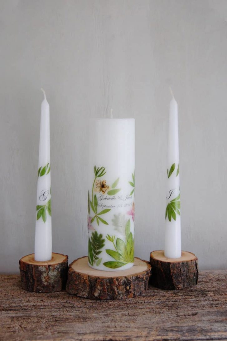LessCandles on Etsy - Pressed Flower Unity Candles