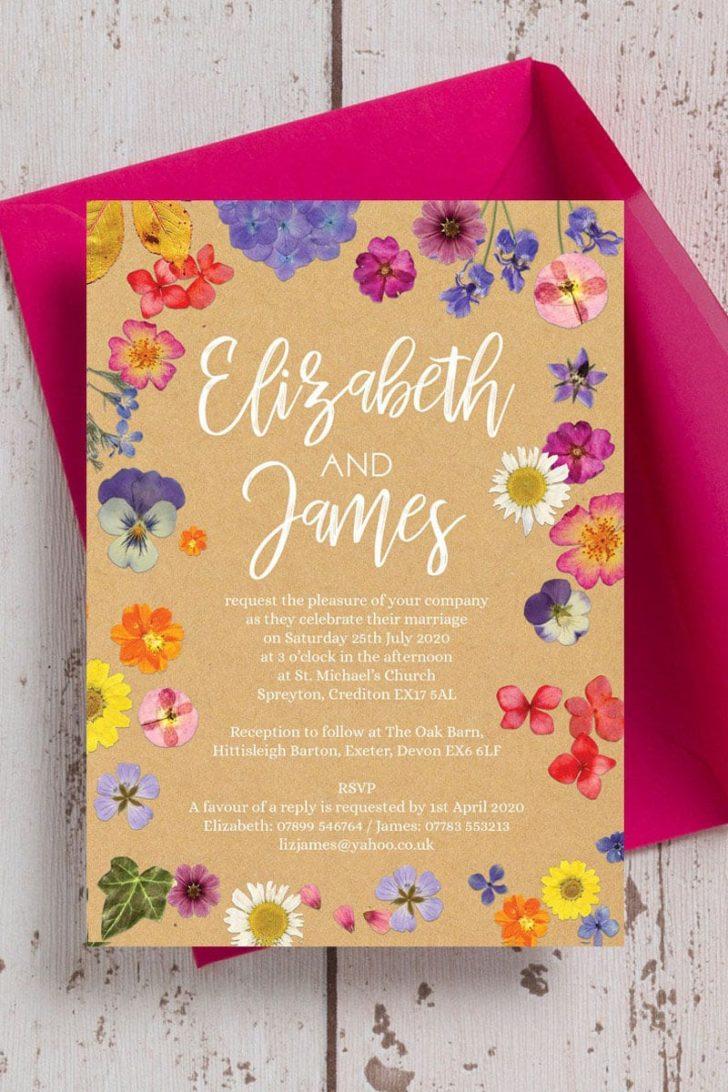 HipHipHoorayStudio on Etsy - Pressed Flower Illustrated Wedding Invitations
