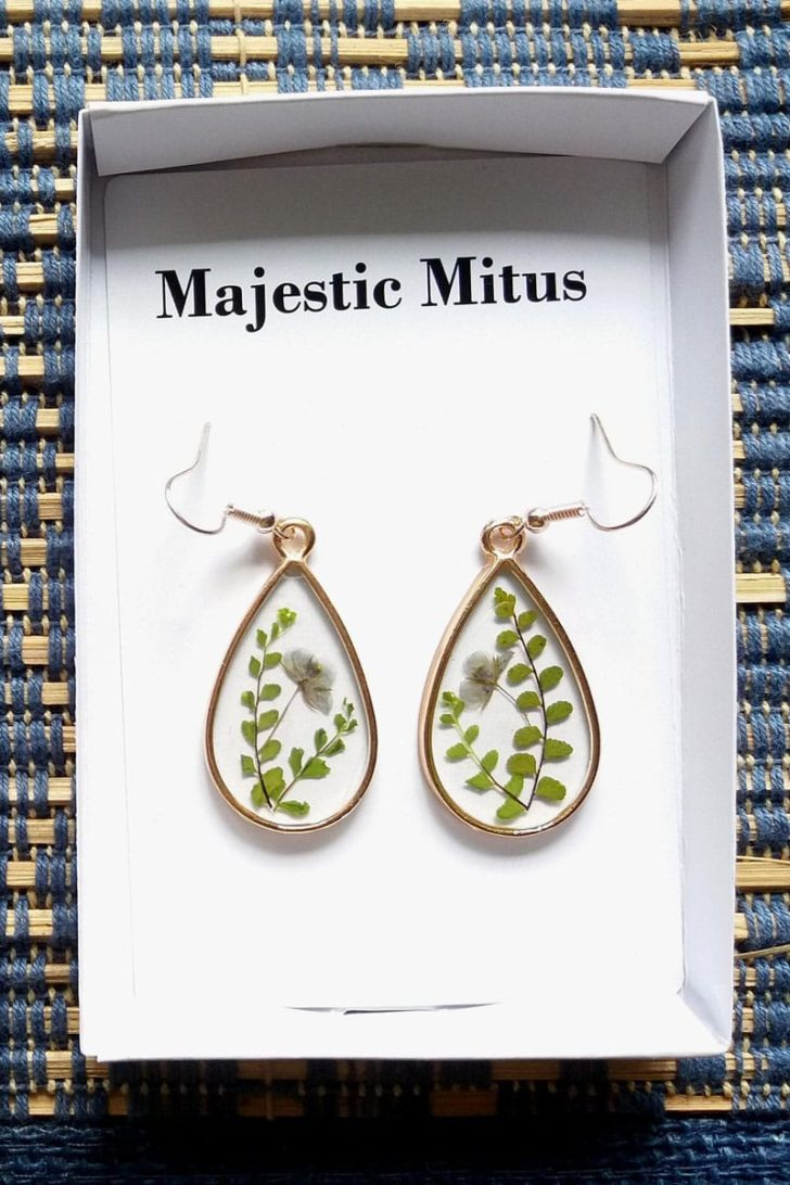 MajesticMutis on Etsy - Pressed Leaves Earrings