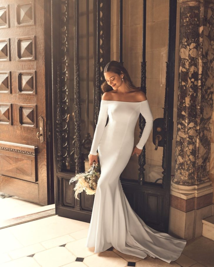 Minimalist Wedding Dresses from David's Bridal Clean + Modern Collection - Off the Shoulder Crepe Wedding Gown