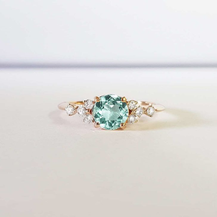 mint sapphire engagement ring